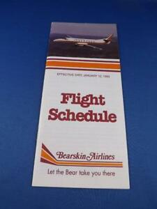 BEARSKIN-AIRLINE-SYSTEM-TIMETABLE-FLIGHT-SCHEDULE-JANUARY-1993-TRAVEL-ADVERTISE