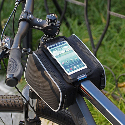 Bike Bicycle Frame Tube Touch Mobile Smart Phone Bags Pack Pouch Panniers Black