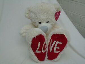 Cuddles-Collection-White-Plush-Teddy-40cm-034-LOVE-034-BNWT