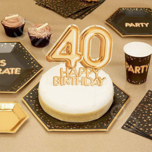 Gold Happy Birthday Cake Topper Decoration Cupcake Pick 18th 21st 30th 40th 50th
