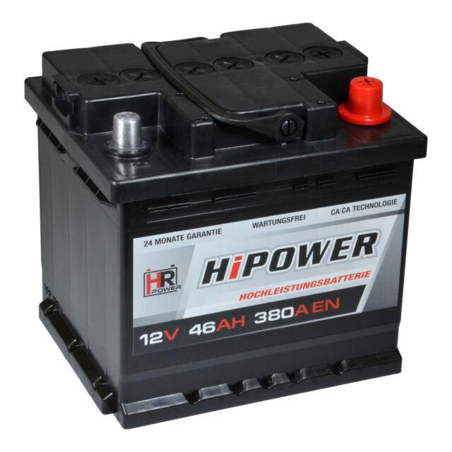 HR HiPower Autobatterie 12V 46Ah 380A/EN ersetzt 36 40 42 44 45 47 48 50 55 Ah