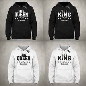Details zu The King His Queen Datum Pulli Hoodie ideales Geschenk für Pärchen Paare Freunde