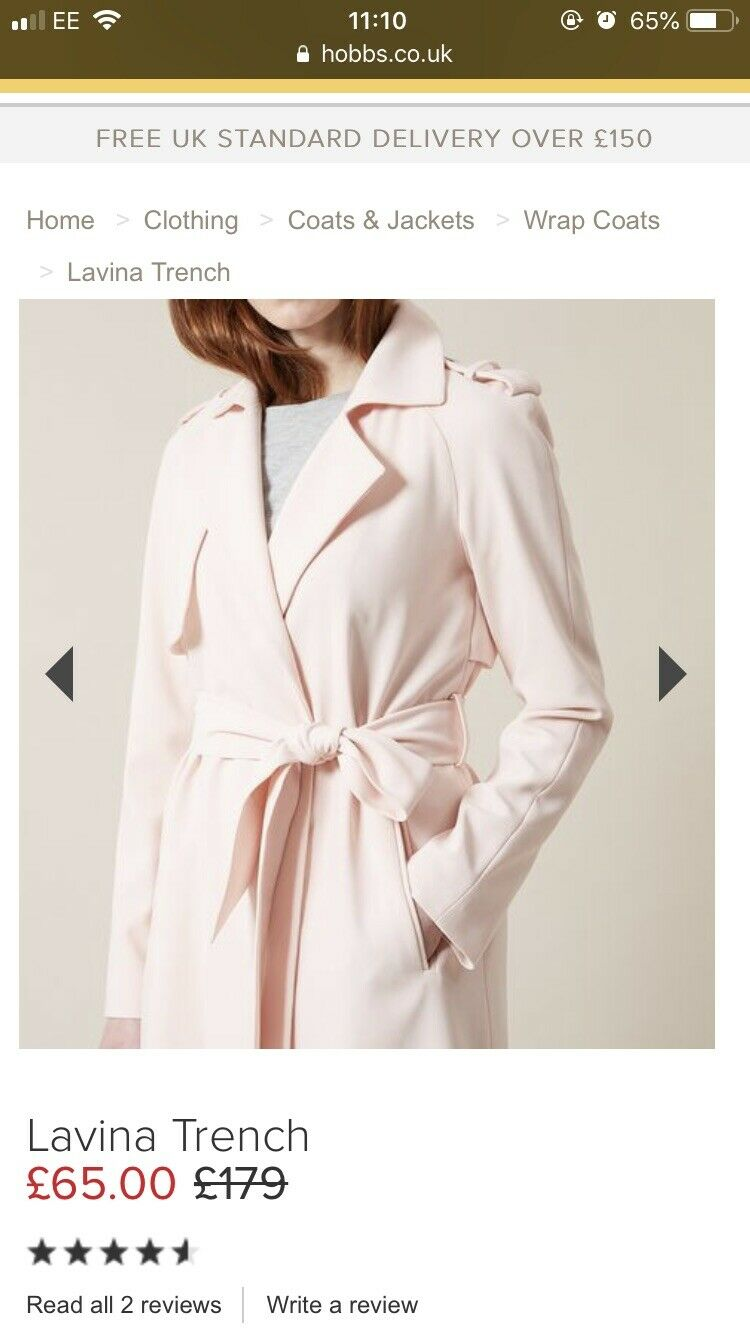 Brand new with tags Hobbs Lavina Trench Coat Size 10 Frost Pink