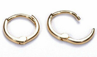 Italian 0.7g Solid 14K Yellow Gold Small Huggies Hoop Earrings 10mm x2mm 0.40/""
