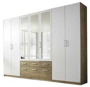 Details zu Kleiderschrank braun weiß B 315 Schlafzimmer Spiegel Wäsche  Drehtürenschrank