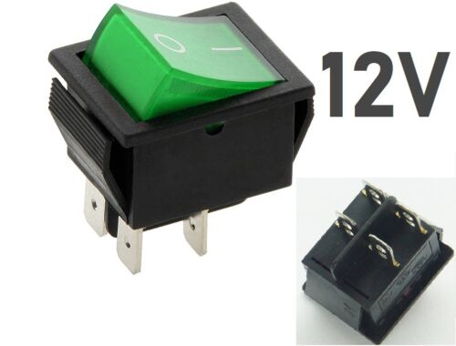 12V 35A 4 COLOUR Rocker Switch 1  ON-OFF Double Pole 4 Pin  ILLUMINATED