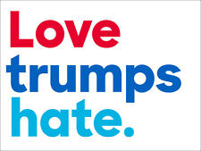3x4 inch Love trumps hate. Bumper Sticker - anti trump pro hillary clinton decal