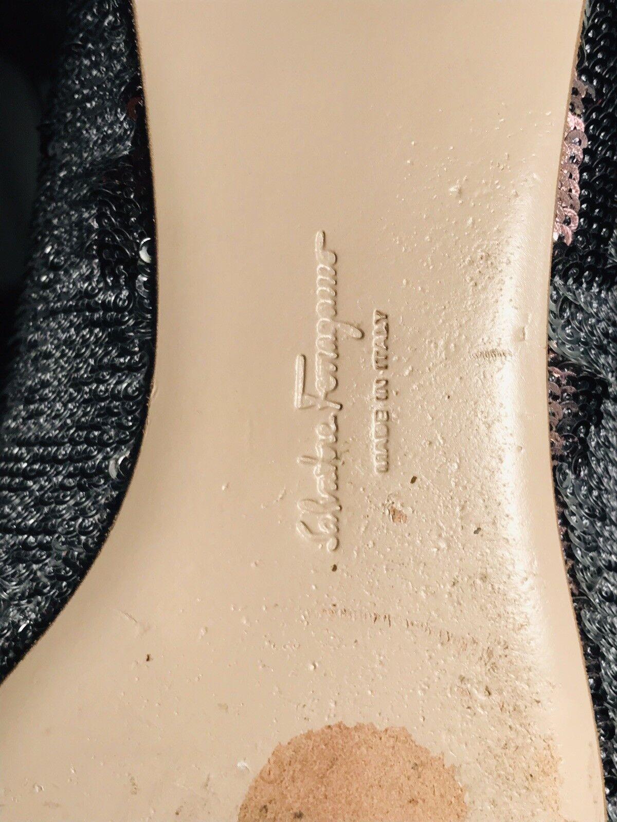 SALVATORE FERRAGAMO FERRAGAMO FERRAGAMO Mermaid Silver Bronze Sequin Flats 9.5 Retail  625 2b42bc