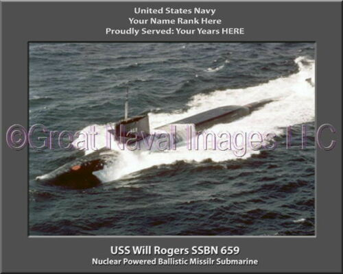 USS Will Rogers SSBN 659 Personalized Canvas Ship Photo Print Navy Veteran Gift