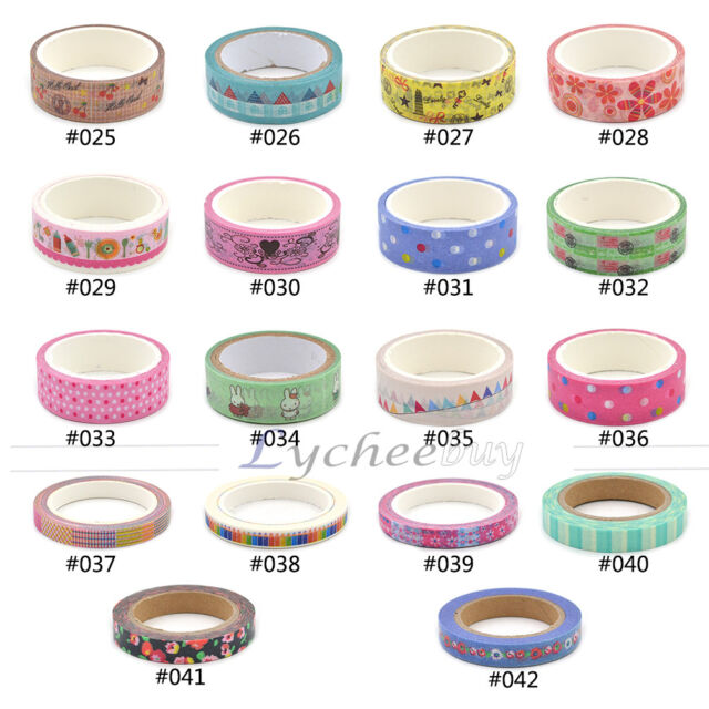 1X Washi Tape DIY Decor Sticky Adhesive Scrapbooking 2015 New Design Collection
