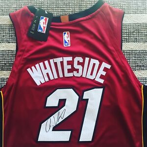 reputable site 25dc3 4154e Details about Hassan Whiteside Signed Autograph Miami Heat Jersey NBA USA  PROOF