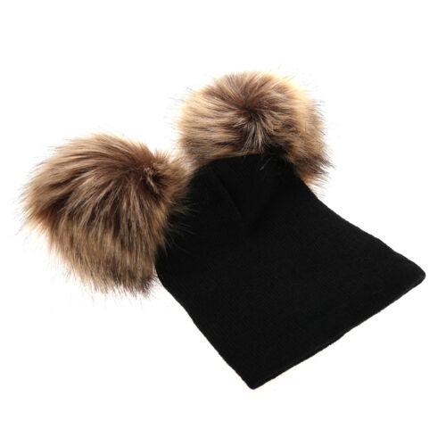 Newborn Kids Baby Unisex Double Pompon Hat Winter Warm knitted Bobble Beanie Cap
