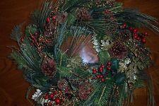 "Raz Imports 24"" Set/2 Pine Spruce Glitter Leaf Pinecone Berry Christmas Wreaths"