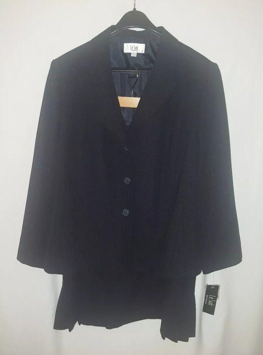 Le Suit Woman Three-Button Blazer & Skirt 22W bluee Midnight Horizon NWT