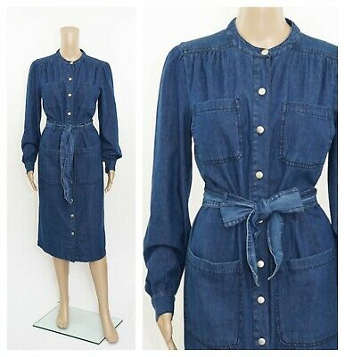 ex M/&S Pinafore Denim Midi Button Through Pockets Dress