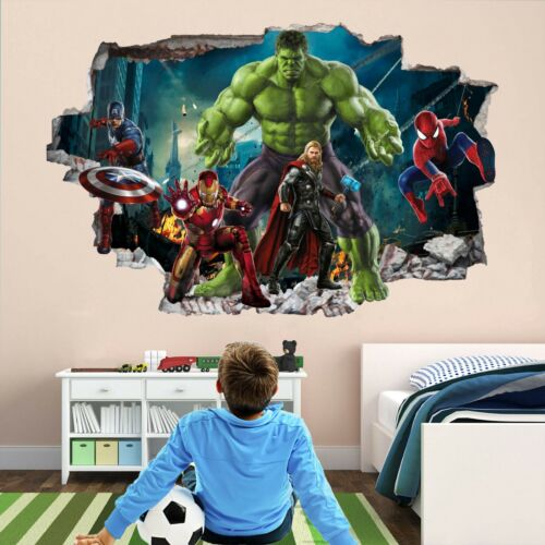 Avengers Superheroes Wall Art Stickers Mural Decal Hulk Spiderman Iron Man EA92