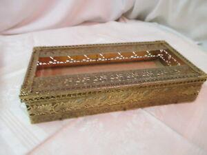 Image Is Loading Vintage Gold Filigree Tissue Box Holder Hollywood Regency