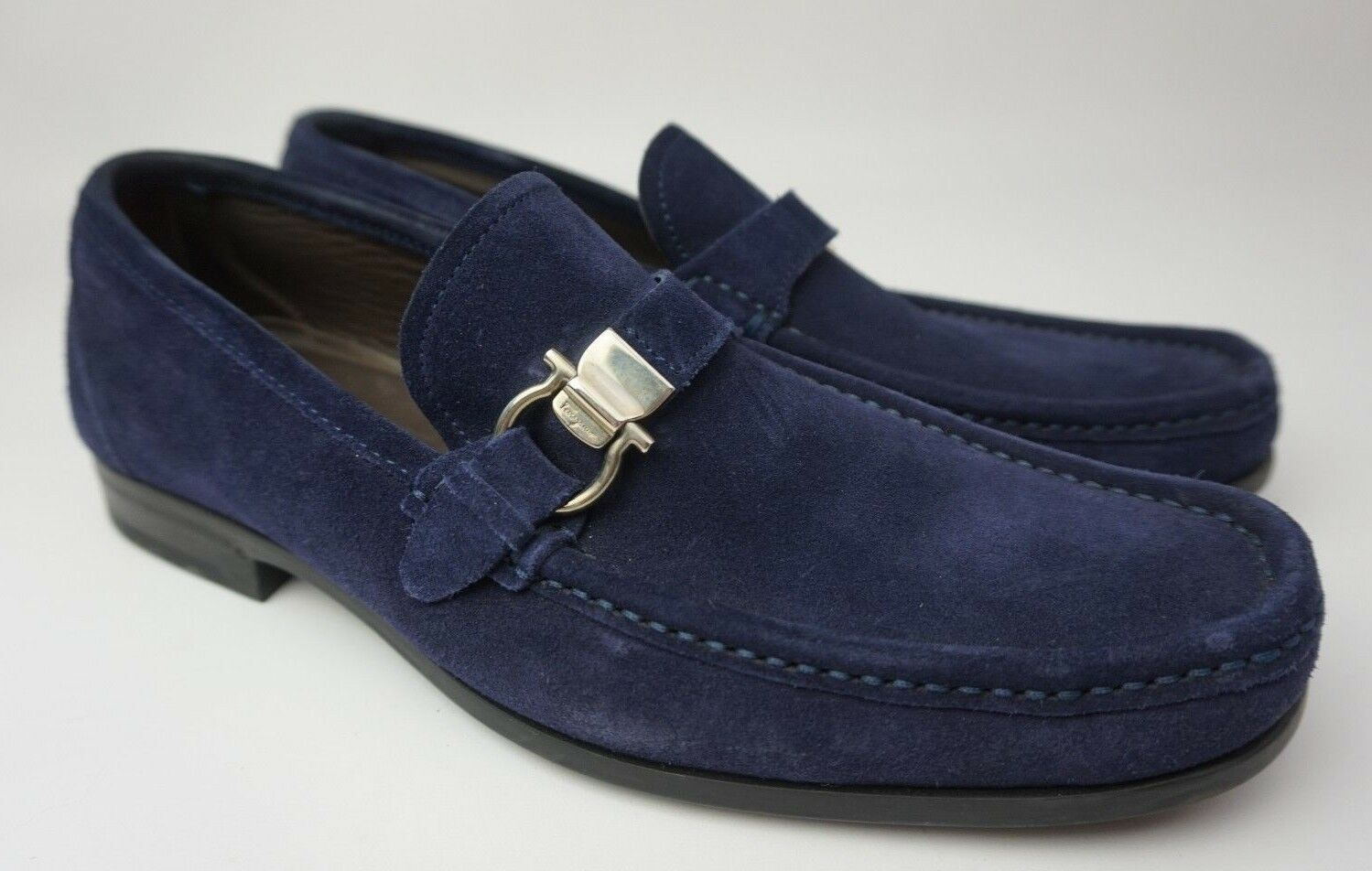Salvatore Ferragamo Muller Azul Marino Mocasines ante Hombre Zapatos Talla Us