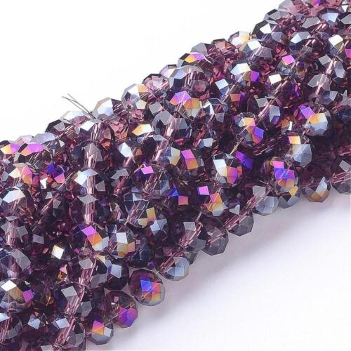 95 RONDELLE FACETED GLASS CRYSTAL BEADS 6mm Jewellery Making Medium Purple