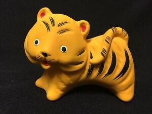 Details about Vintage! Cute Ceramic Smiling Yellow Striped Tiger Cat  Figurine FS