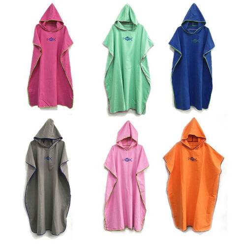 Colourful Hooded Poncho Towel Changing Robe Adult Beach Towel Surf Kitesurf Swim
