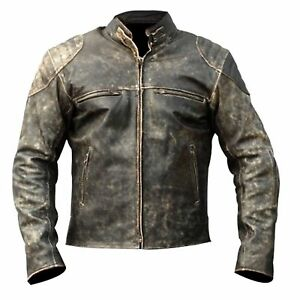 Mens-Antique-Black-Vintage-Distressed-Retro-Motorcycle-Biker-Leather-Jacket