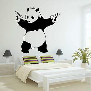 Large-Bad-Panda-Banksy-Gangster-Guns-Wall-Art-Decal-Vinyl-Sticker-For-Bedroom