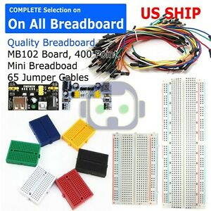 MB-102 Power Supply Solderless Breadboard 830 Tie Points 65PCS Jumper Cable