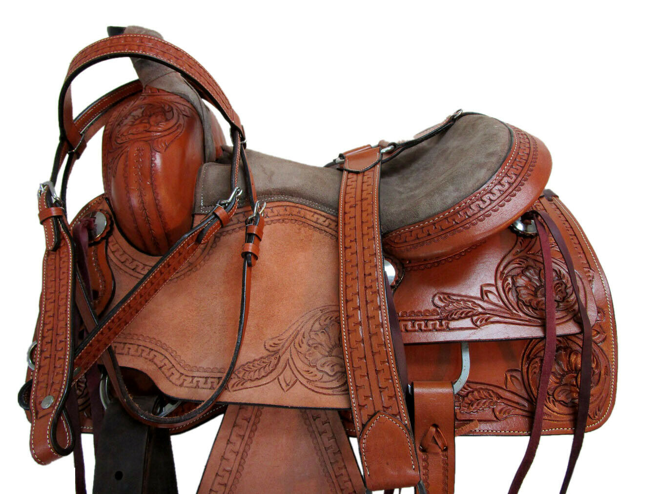 WESTERN TRAIL SADDLE HORSE FLORAL TOOLED SNAKE BORDER PLEASURE PACKAGE 15 16 SET