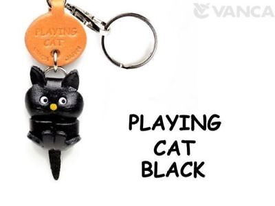 Plain Cat Playing Handmade 3D Leather Keychain//Charm *VANCA* Made in Japan#56411