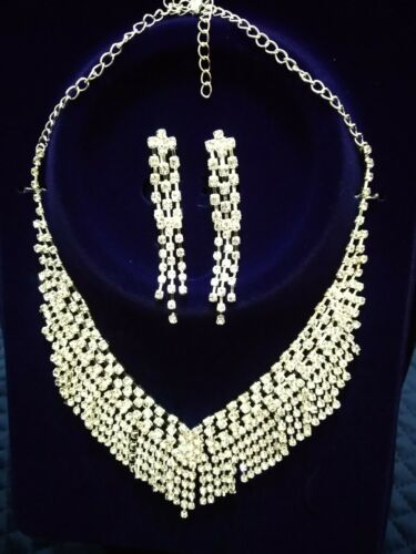 Shiny Fashion Crystal Wedding Bridal Jewellery Necklace And Earrings set