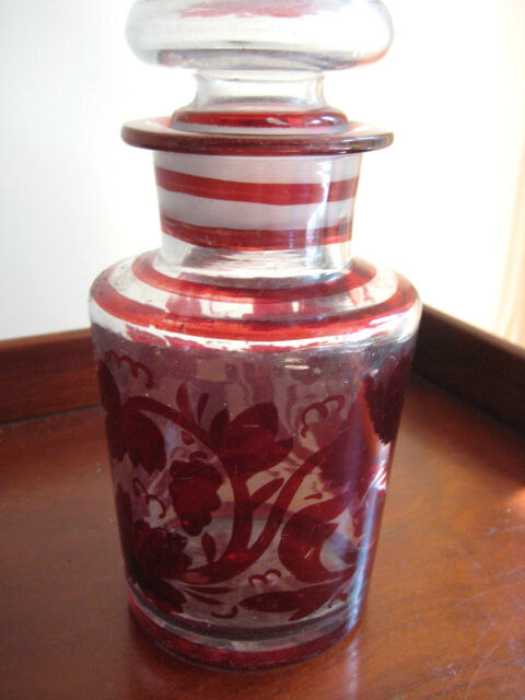 ANTIQUE VICTORIAN HAND PAINTED BARBER BOTTLE