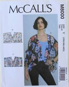 McCalls 8048 Misses Jackets Tops Sewing Pattern Sz 14-22