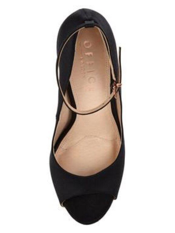 OFFICE Shook up Peep toe toe toe shoes Black UK 4 EU 37 JS34 34 SALEs 2791d0