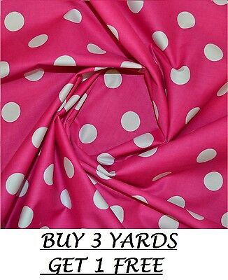 2mm Spot POLYCOTTON FABRIC Spotted Polka Dot Cerise Navy Red Pink Turquoise