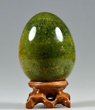 "2.7""Polished GREEN Dendritic MOSS AGATE EGG SPHERE w/Rosewood Stand-MDG Z046"