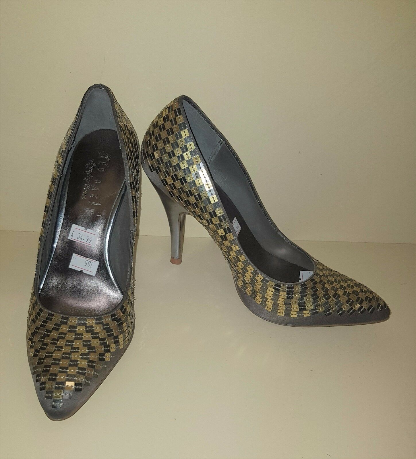 Ted Baker gold Sequin Heels shoes Women Used Pre-Owned Party Ladies Size 3 36