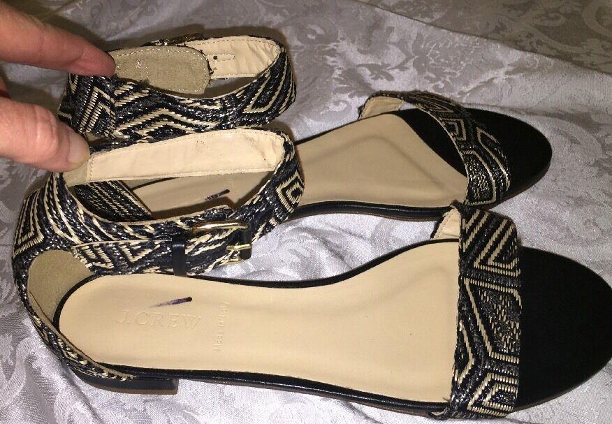 J Crew Crew Crew 10 Maya Ankle Strap Sandals a7914 Woven Geometric Sandal Black Natural ac8ec1