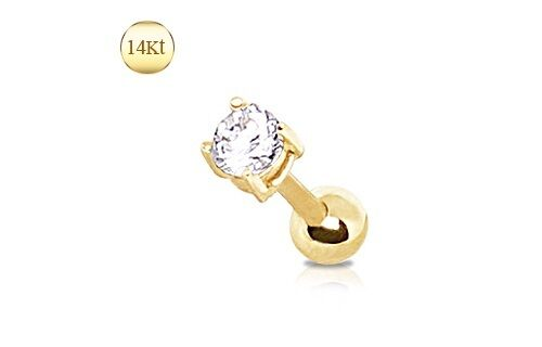 14K Solid GOLD Clear GEM STUD CARTILAGE Helix TRAGUS Conch EAR Rings Piercing