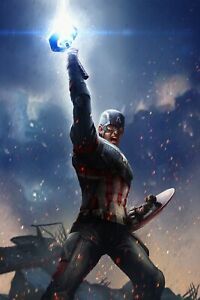 "24/"" x 36/"" approx Captain America Silk canvas Fabric Poster"