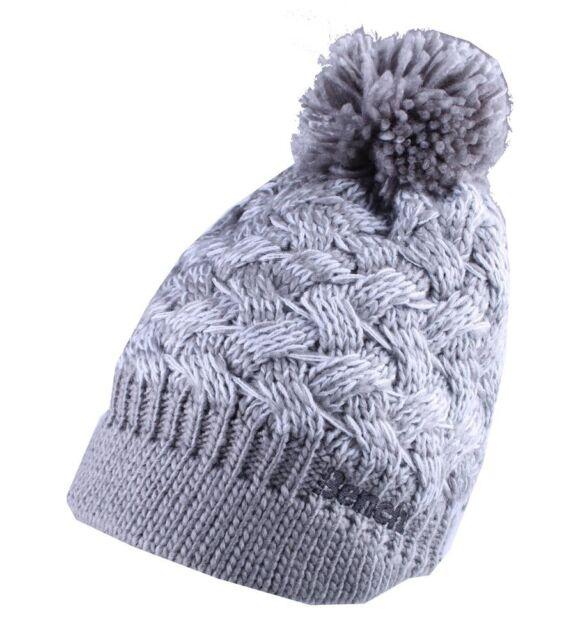 a2e9f35f025d61 Bench Acrylic Grey White Alanna Peaked Bobble Pom Knit Beanie Winter Hat NWT