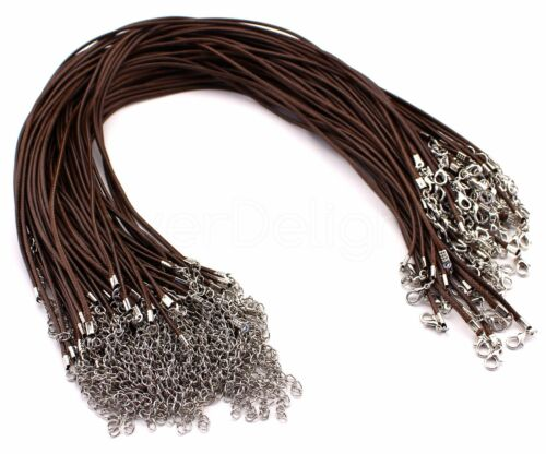 """Brown 2mm Thick 18/"""" With Lobster Clasp 20 Imitation Leather Cord Necklaces"""