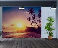 Tropical beach house paradise and palms wallpaper wall mural (35298906)