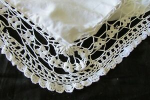 HUGE-Antique-French-Cotton-Lace-Pillowcase-European-Sham-Mono-MM-c1910