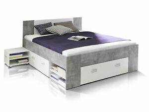 funktionsbett 140x200 benjamin doppelbett bett schubladen beton wei dekor ebay. Black Bedroom Furniture Sets. Home Design Ideas