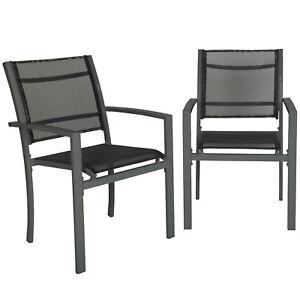 Détails sur Lot de 2 chaises de jardin camping terrasse balcon salon de  jardin gris foncé