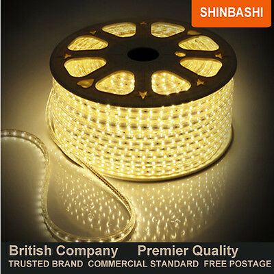 PREMIER IP66 220v 240v Warm White SMD 3528 LED Ribbon Strips Rope Lights 15m UK