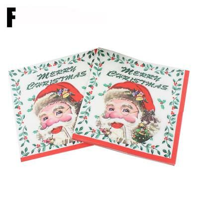 20pcs Christmas Party Paper Napkins Serviettes Birthday Wedding Merry Chri Zccj