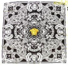"VERSACE white VENETIAN Baroque LIONS gold Medusa Silk 35"" Large scarf NWT Authen"