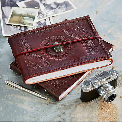 Fair Trade Handmade Small Stitched /& Stoned Leather Photo Album 2nd Quality
